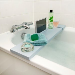 BathTub Rack Tray with IPad Phone Holder Caddy( Blue Lagoon)
