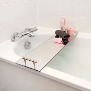 Mirrored Bath Rack Bathtub Tray With Silver Handles