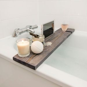 Bathtub Rack Rustic Hazel Grey Wooden Caddy (Skye) Board with IPad Phone Holder