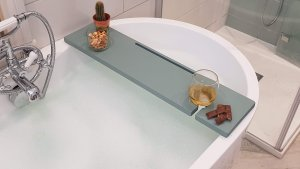 Wooden Bath Rack With Tablet Slot And Wine Glass Holder