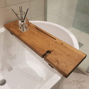 Rustic Chunky Oak Stained Wooden Bath Rack With Wine Glass Holder and Tablet Slot