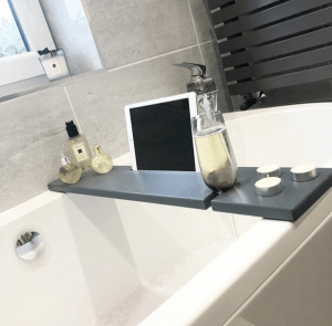 Slate Grey Wooden Bath Rack With Tablet Slot And Wine Glass Holder