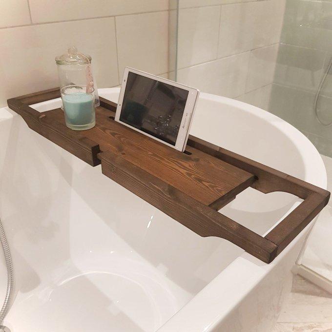 Dark Walnut Extendable Bath rack
