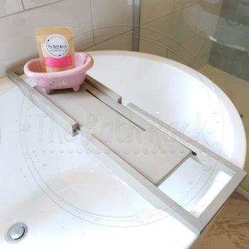 Grey Extendable 70cm-105cm Wooden Bath Rack Caddy Bridge Bath Board Tablet 1