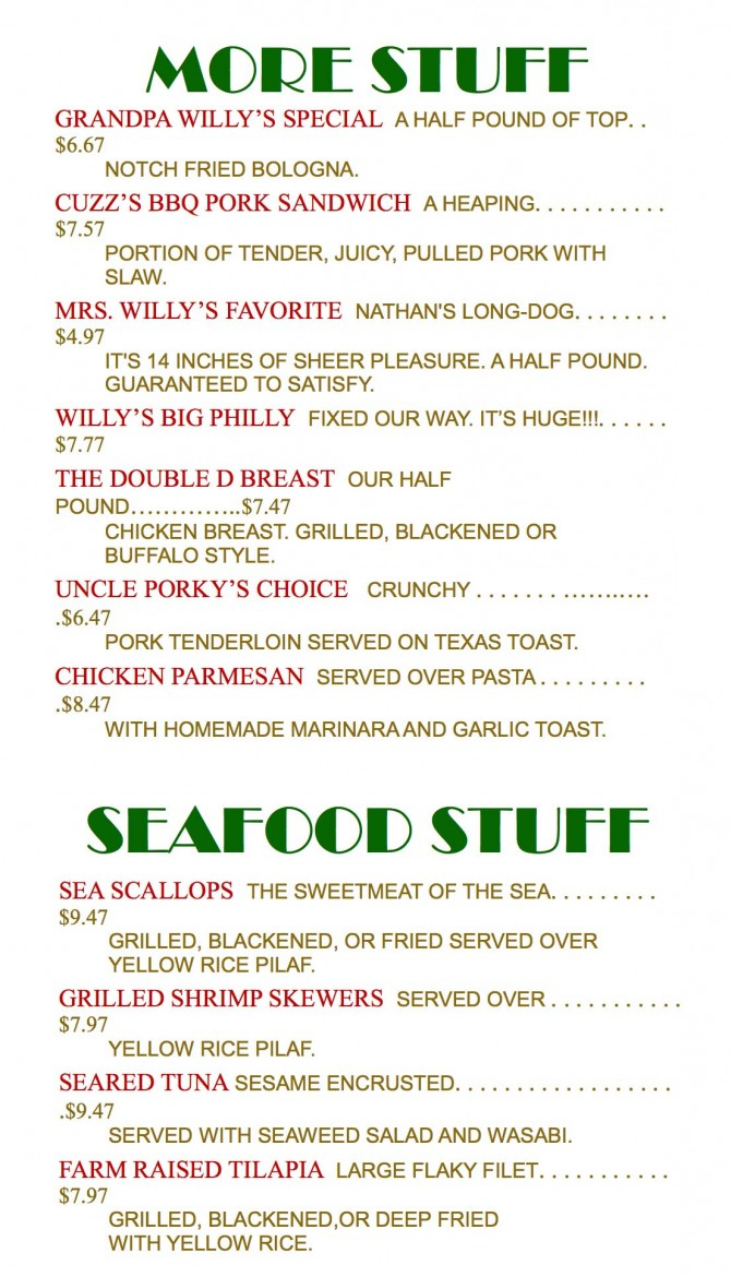 Willy's-''More-Stuff''-&-''Seafood-Stuff''-(11x17-Cream-67#-Vellum-Bristol)