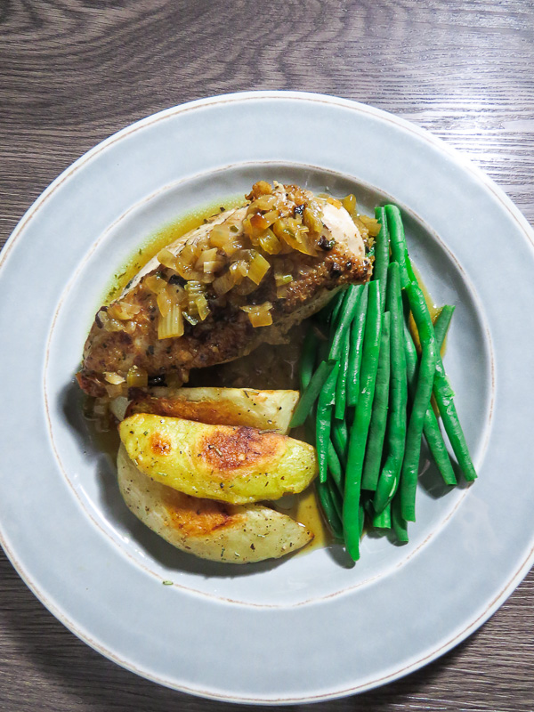 Fricasséed Chicken with Bay Leaves - With the aromatics of onion, celery, garlic and parsley, this chicken recipe is great to make for family dinners or small supper parties.