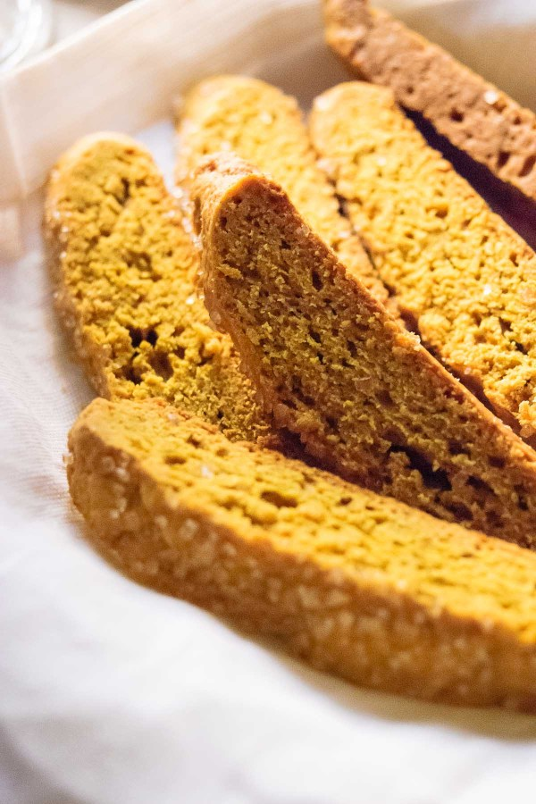 Crisp dunkable cookies, perfect for coffee, tea or a cold glass of milk - this Pumpkin Spice Biscotti recipe is an October and Thanksgiving must! - thebeaderchef.com Thanksgiving | Vegetarian | Cookies | Biscotti | Dessert
