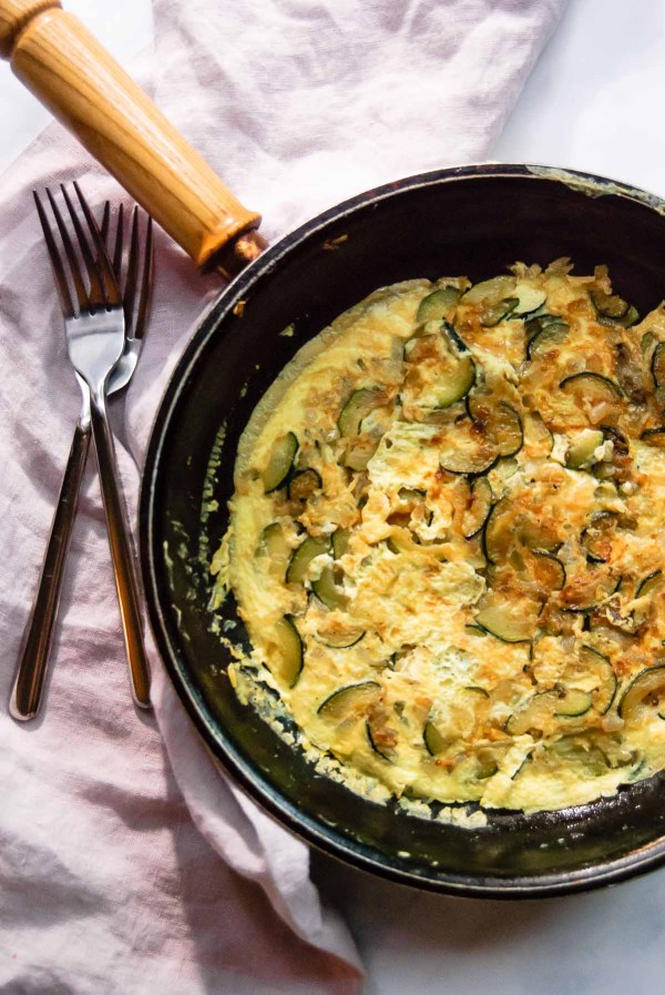 When you don't feel like cooking anything elaborate turn to this 20 Minute Zucchini Onion Frittata for Two recipe. With 3 simple ingredients, this egg main dish is perfect for breakfast, lunch and supper! Super easy, super simple, super delicious! - thebeaderchef.com Eggs | Gluten-Free | Vegetarian | Quick & Easy | Simple | 30 minutes or less | Breakfast | Lunch | Supper | Dinner | Cooking for Two