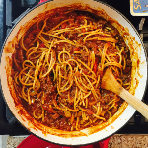 DIY Backpacking Meal BBQ Spaghetti. Tired of boring dehydrated meals? Whip up some of this delicious BBQ Spaghetti and save money. Plus it's way more delicious than any prepackaged spaghetti you can buy! It doesn't take a lot of time or energy. https://www.thebeardedhiker.com/bbqspaghetti