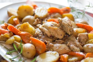 Pesto chicken with carrots and potatoes - 11 minutes to tender, fall apart chicken goodness. It reminds me of a roast, but with chicken.