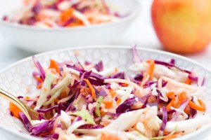Feel like eating on the lighter side? This veg and apple slaw is just the ticket. Few ingredients, nothing processed, and the apple makes it super refreshing!