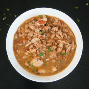Jalapeño beans with shredded rotisserie chicken - healthy, easy weeknight meal!
