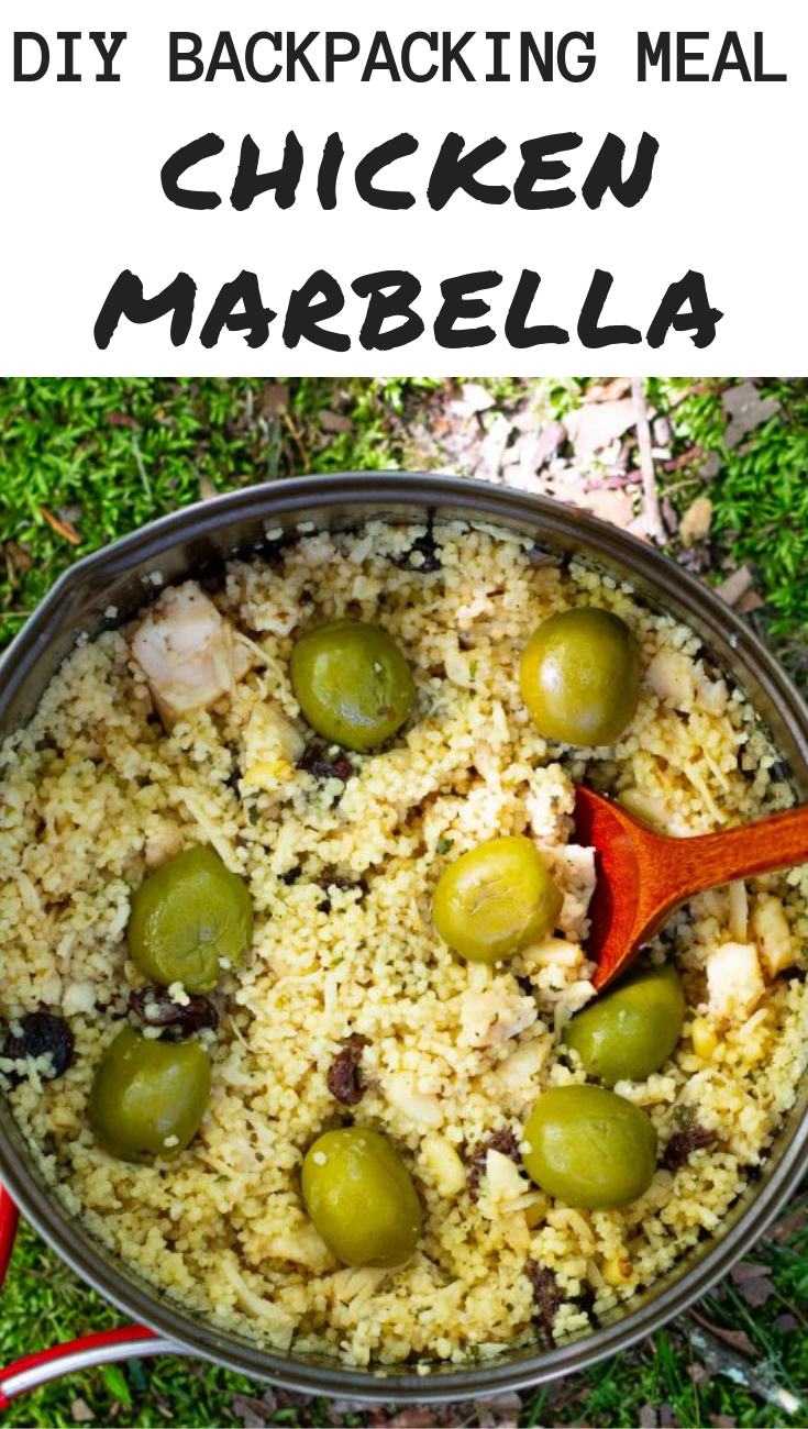 Chicken Marbella - Delicious, easy to pack and cook on the trail! #backpackingfood #backpackingmeals #campingfood #campingrecipes
