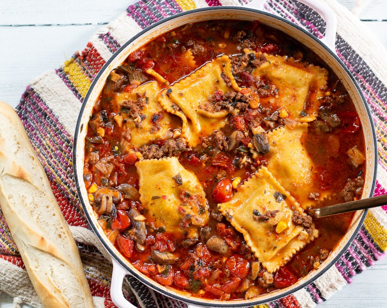 Dinner Beefy ravioli soup is like a warm hug at the end of a busy, cold day. It's so easy in your Instant Pot. Serve with warm crusty bread and you're golden!