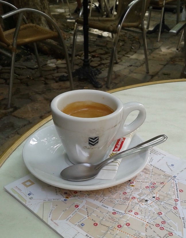 I stopped at an outdoor cafe to drink espresso, consult my map and watch the people pass by!