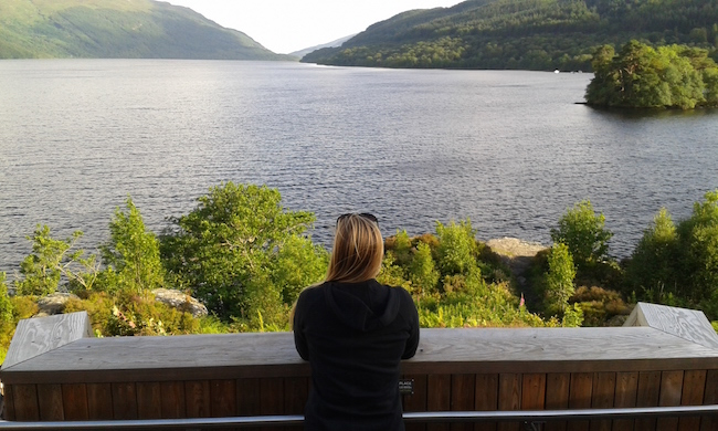 Stopping to take in a view of Loch Lomond in Scotland