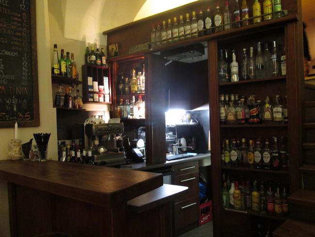 The tiny bar at Wodka