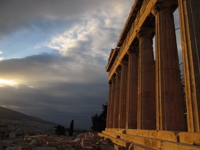 Unfortunately, the Parthenon is mosty covered in scaffolding. I don't like scaffolding in my photos...