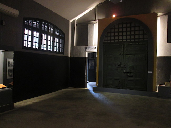 The former front gate, displayed in one of the remaining buildings
