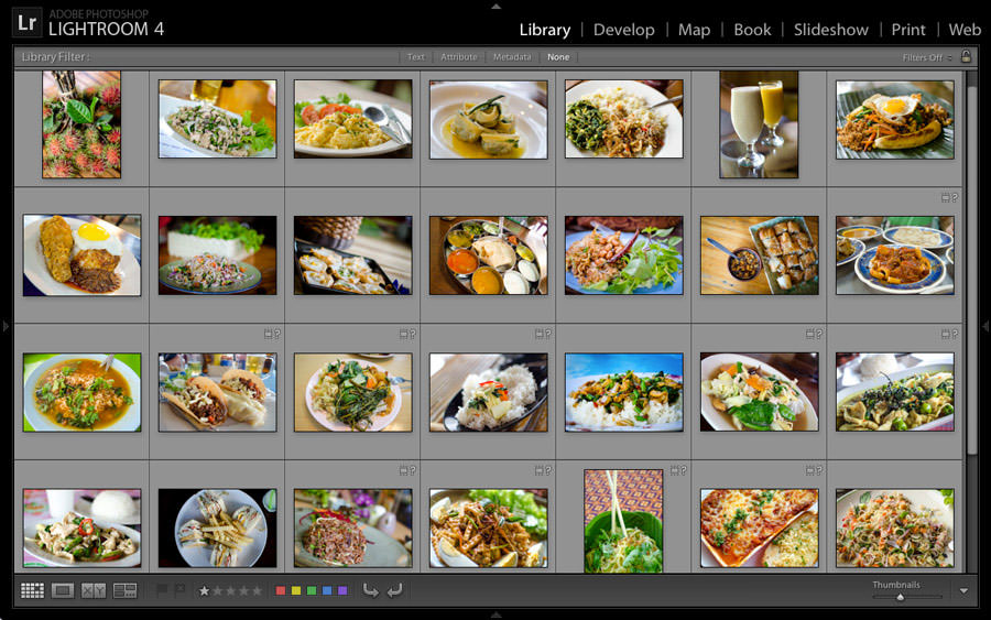 A computer screen filled with photos of food.