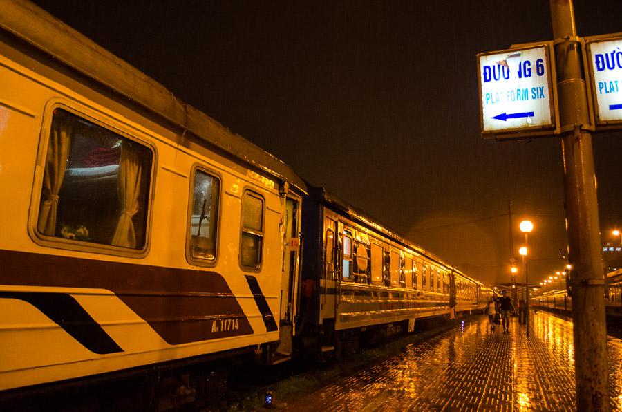 Hanoi train station at night.