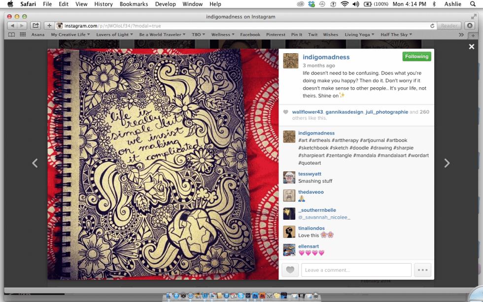 Screenshot of Indigo Madness of Instagram