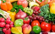 Healthy basket of fruit and vegetables