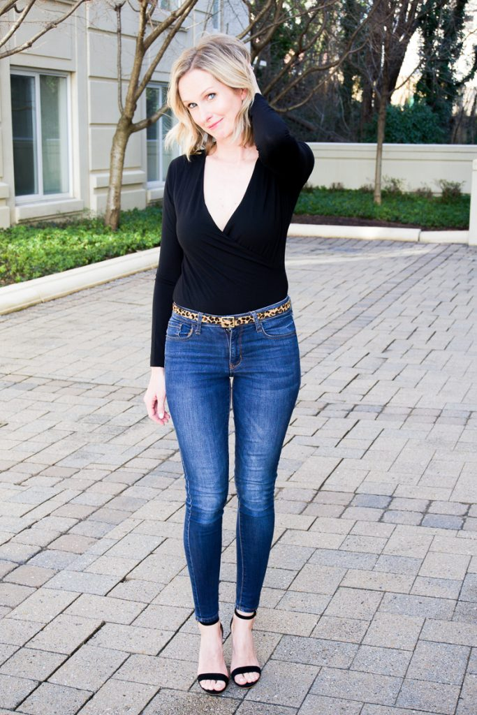 A MUST-HAVE IN YOUR CLOSET - THE BODYSUIT | I am sharing this amazingly comfortable and super flattering bodysuit on the blog today. It is universally flattering and extremely versatile. Can be worn with pants and skirts and paired with a blazer or the office, or looks sexy and sophisticated with a leopard belt and heels for date night. #datenight #outfitideas #realstyle #realoutfit #over40 #over40style #closetstaple