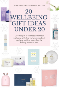 20 Wellbeing Gifts under 20. Give the gift of wellness with these wellbeing gifts that keep to a budget but also nurture mind, body and soul and last long after the holiday season. www.awelltravelledbeauty.com