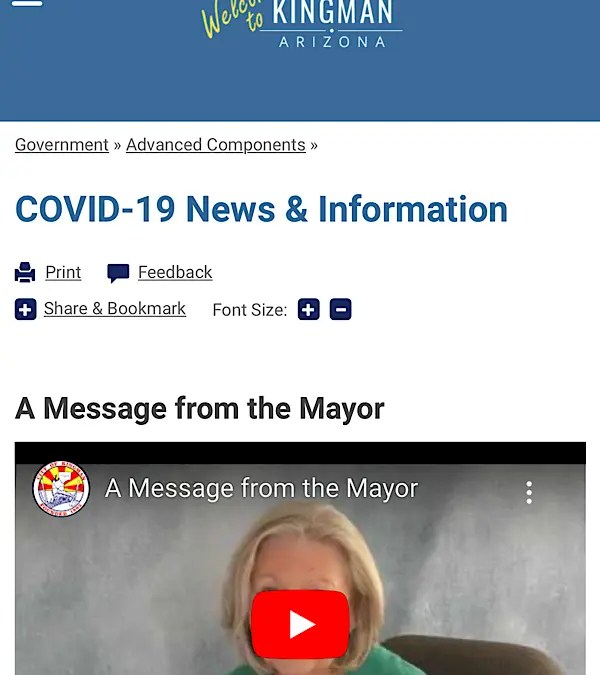 City of Kingman Launches COVID-19 Webpage
