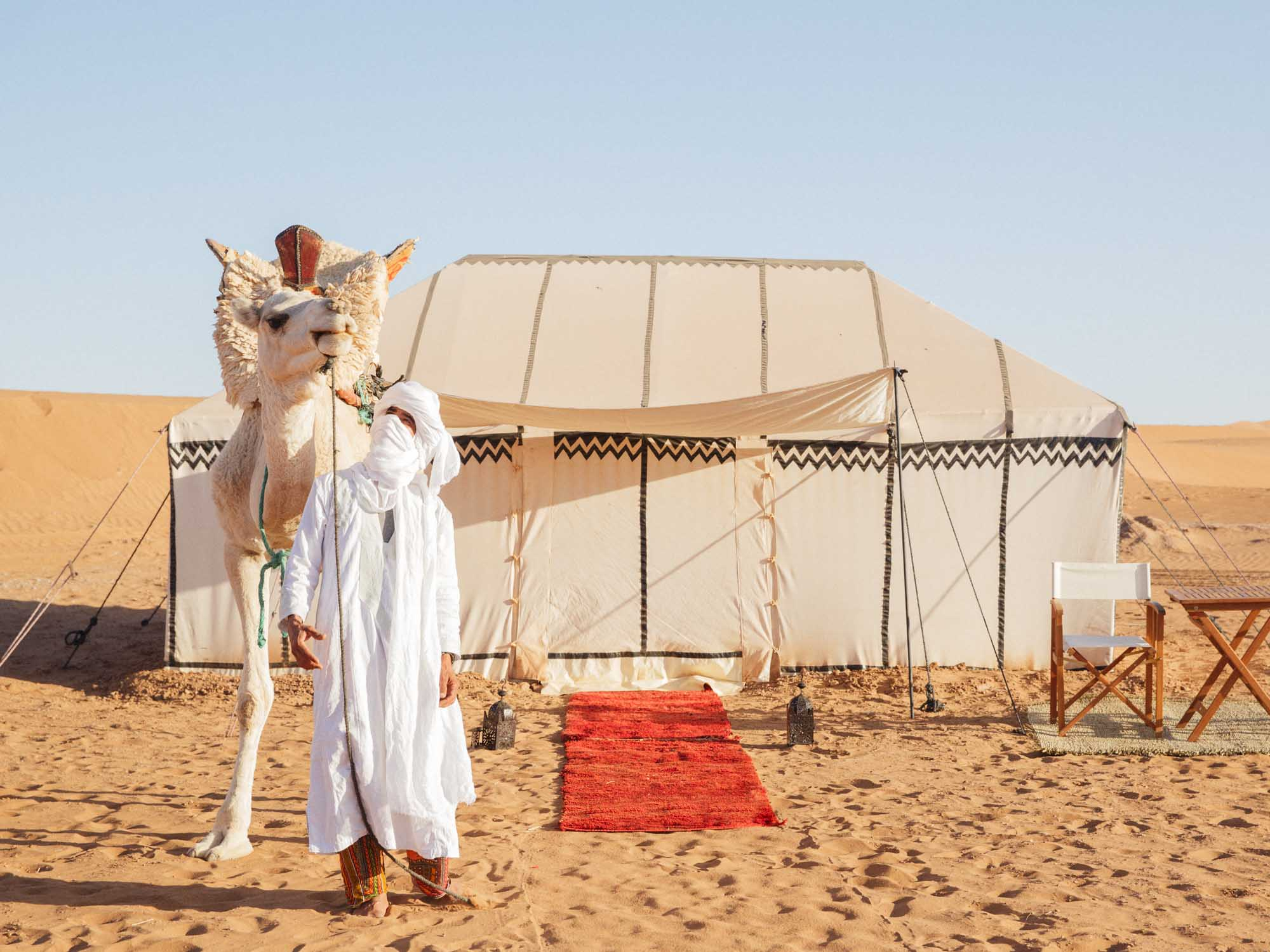 Berber Tour Guide With Camel at Luxury Camp in Morocco