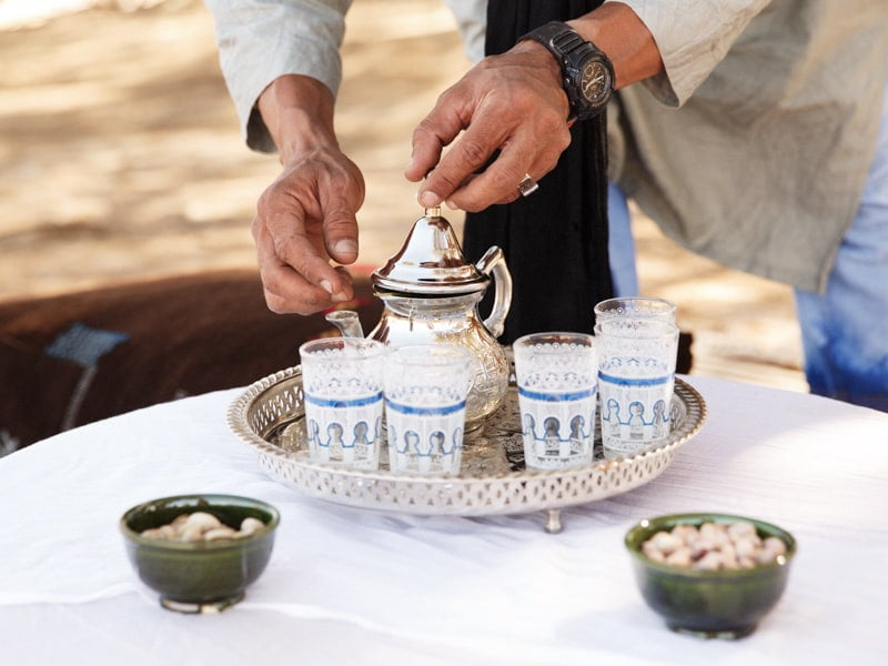 Tea ready to be served in the luxury Sahara Camp in Morocco