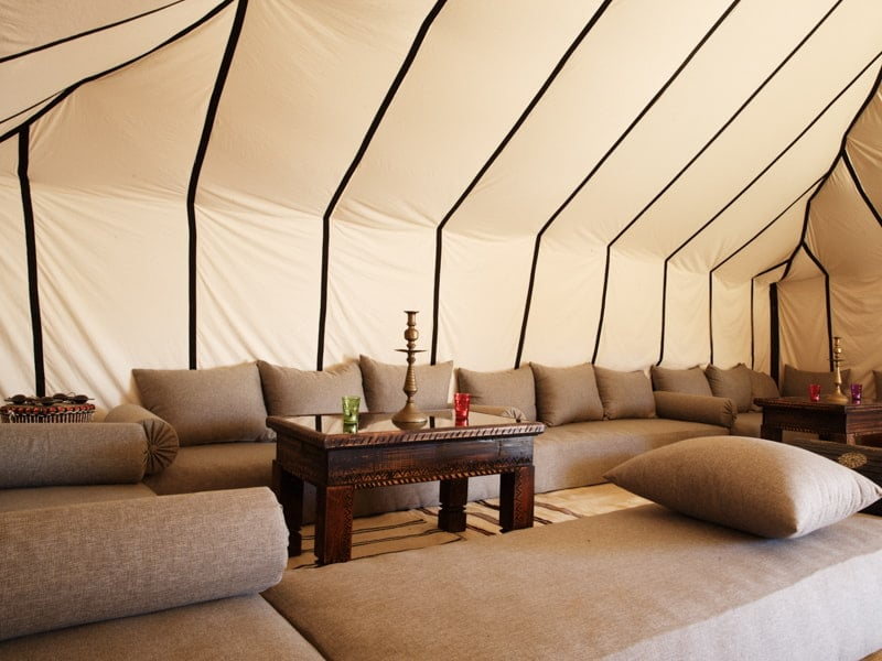 Luxurious Sofas and Coffee Table in Desert Camp Living Accommodation