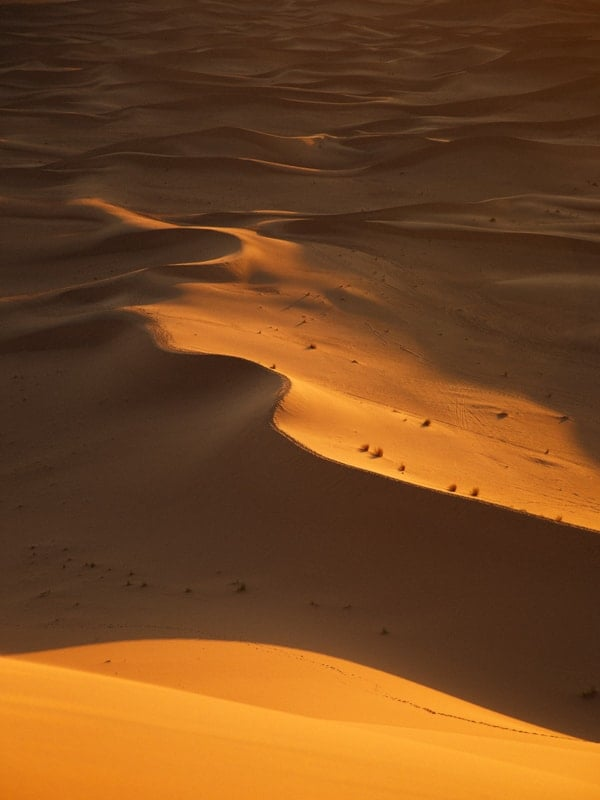 Sand Dunes in Shadow Near the Desert Camp, Western Morocco
