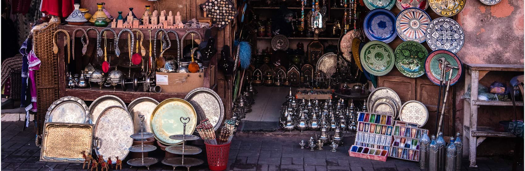 Shopping in Marrakech Souk, Handmade Metal Trays, Dishes and Trinkets