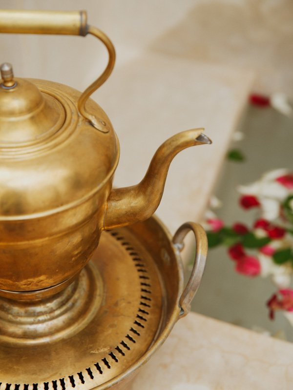 Moroccan Brass Teapot on Heating Burner Stand