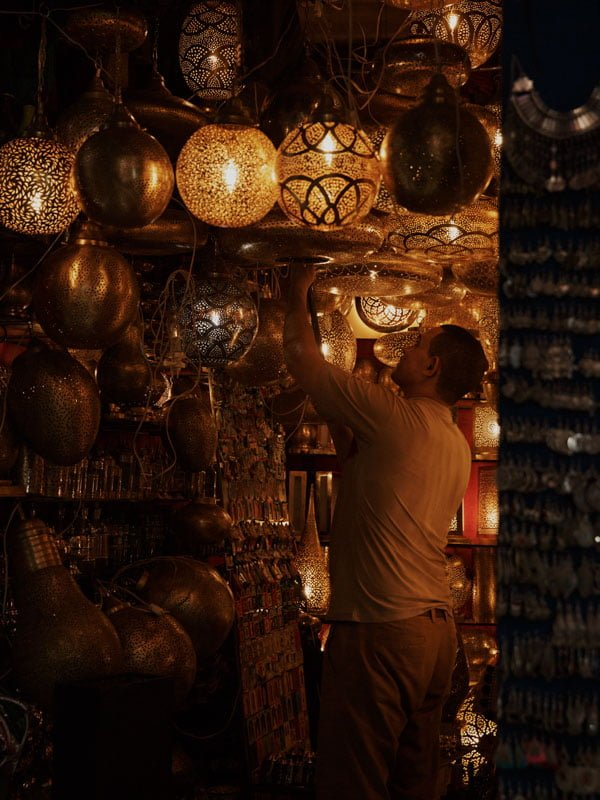 Metalwork and Lighting for Sale in the Marrakech Souks