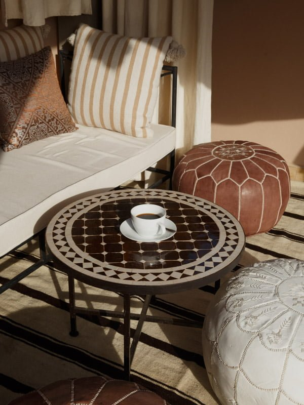 Authentic Moroccan Coffee Table, Cup of Tea, Leather Poufs and Couch with Cushions