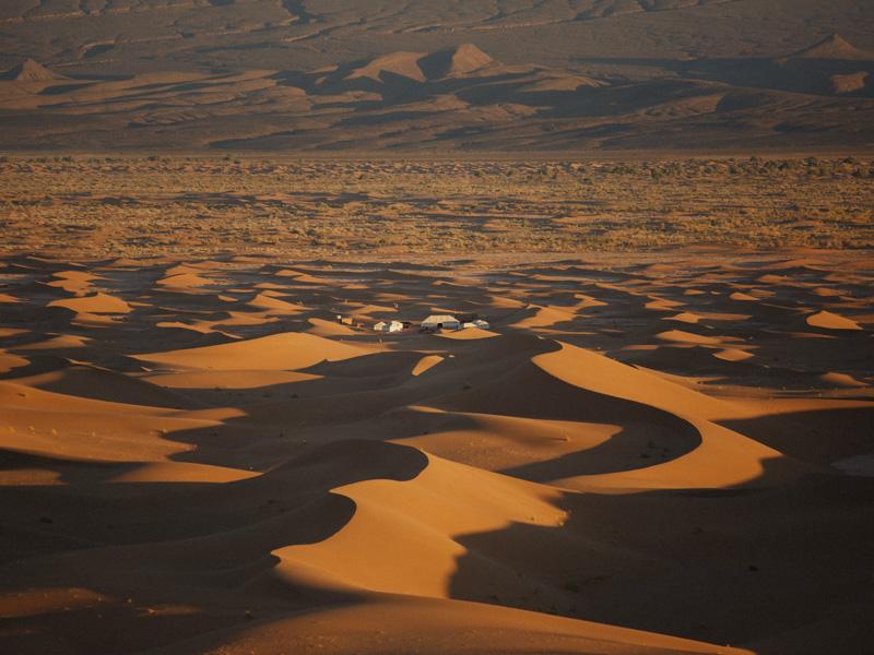 Secluded Sahara Desert Camp In Sand Dunes