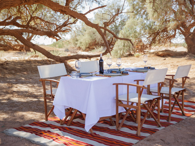 Alfresco Dining for four in Morocco Desert
