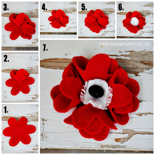 Memorial Day Poppy Tutorial at www.thebensonstreet.com