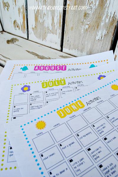 Summer Activity Calendar Printable at www.thebensonstreet.com