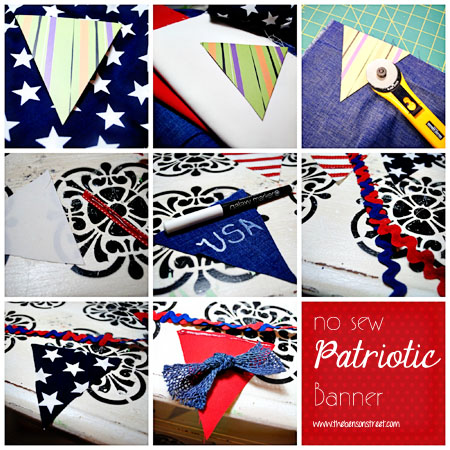 No Sew Patriotic Banner Tutorial at www.thebensonstreet.com