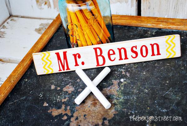 Teacher Name Plate at thebensonstreet.com