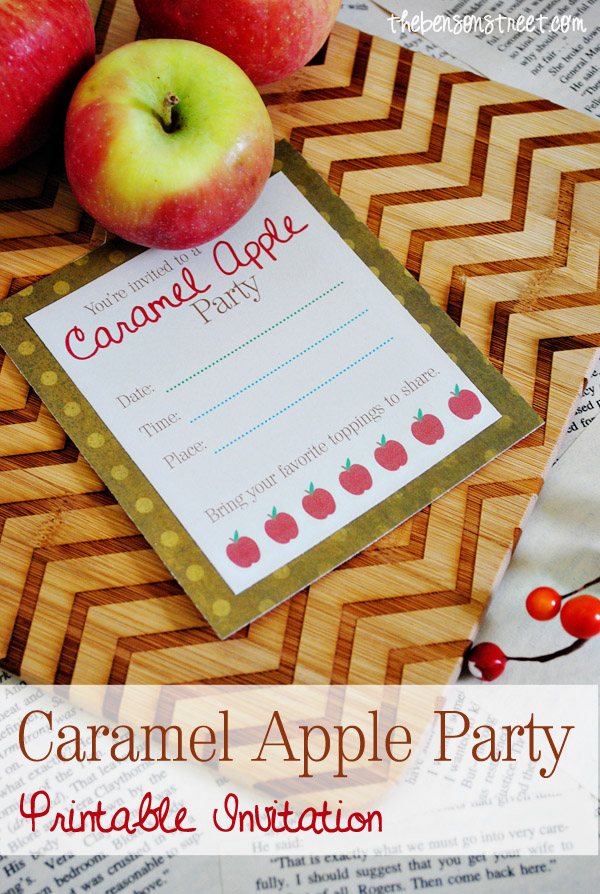 Caramel Apple Party Printable Invitation at thebensonstreet.com