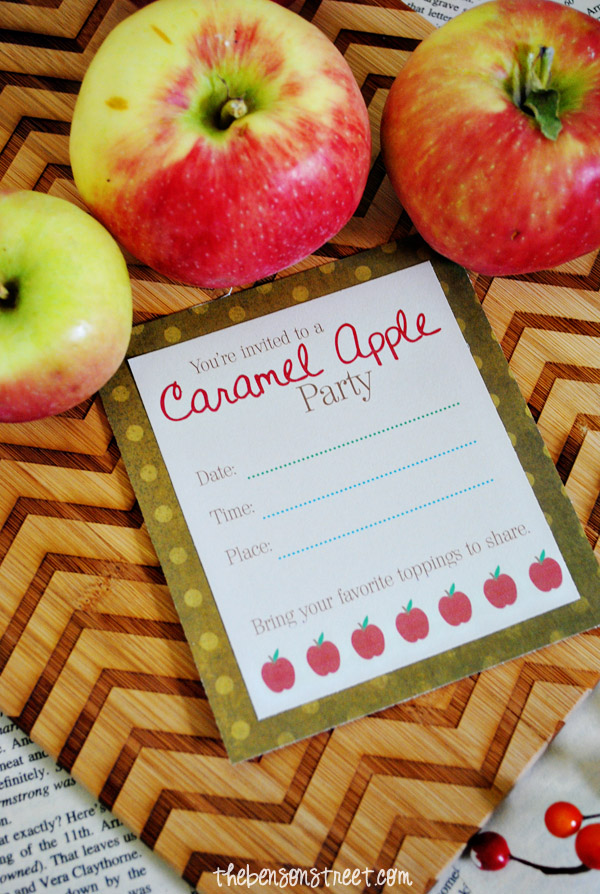 Fun Printable Caramel Apple Party Invite at thebensonstreet.com