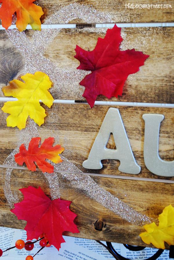 Glittery Autumn Wood Sign at thebensonstreet.com