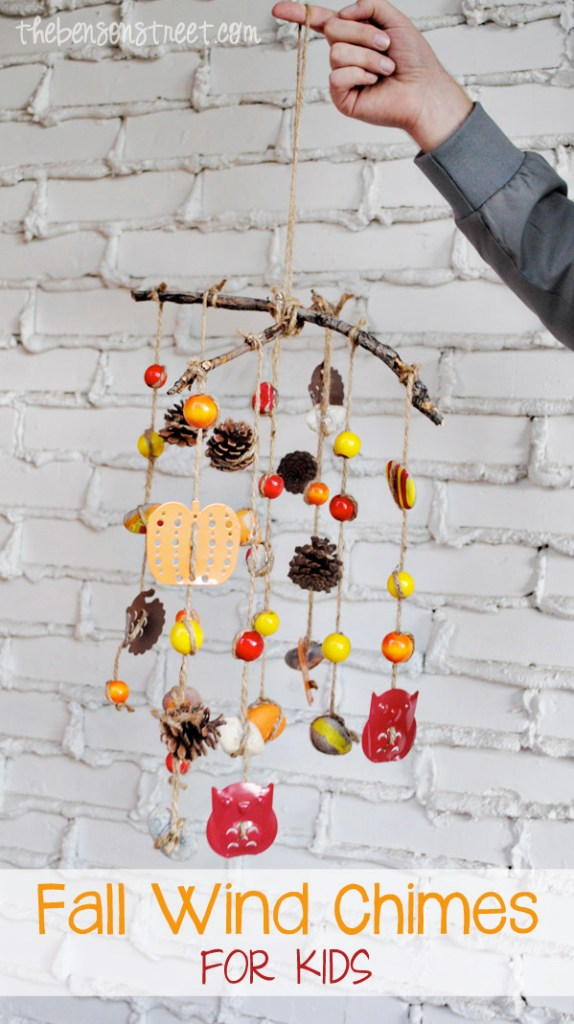 Cute Fall Craft for Kids Fall Wind Chimes at thebensonstreet.com