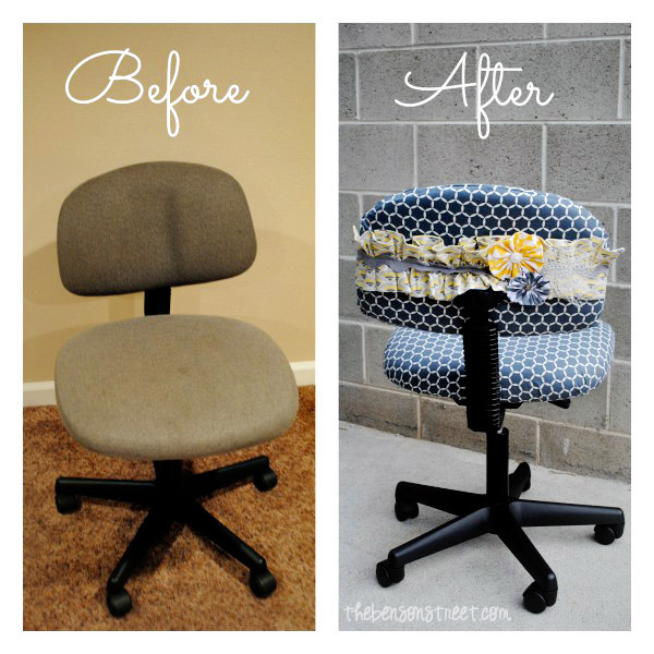 Office Chair Makeover Before and After at thebensonstreet.com