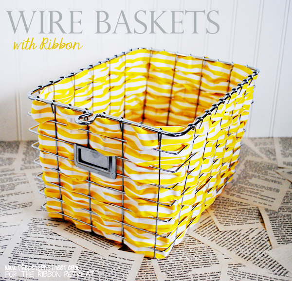 Wire Baskets with Ribbon